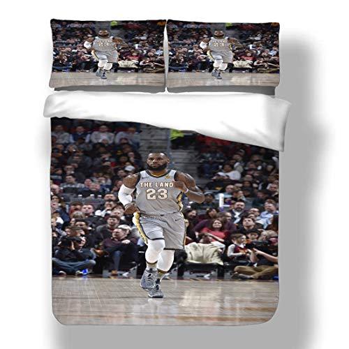Juego de Funda nórdica Lebron Los Angeles Basketball Player 23 Ropa de Cama King James Lakers Super Star Score A Basket Hook Shot Edredón con 2 Fundas de Almohada Cleveland Miami Cavaliers Hea