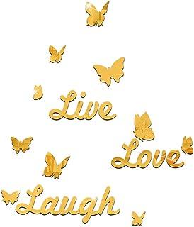 Mirror Wall Sticker-3D Mirror Sticker, Environmentally Friendly Removable Mirror (Live Love Laugh) Butterfly Mirror Englis...