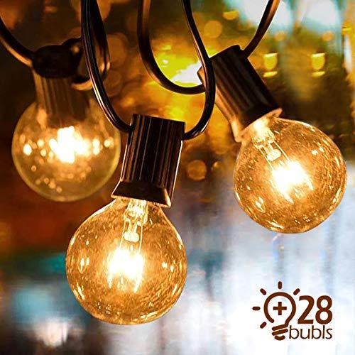 Lichterkette Außen, IREGRO Lichterkette Glühbirnen Außen, Garten Lichterkette, Wasserdichte String Licht für Innen Draussen, Party, Festival, 9.5M Warmweiß 28er Birnen
