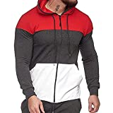 BIKETAFUWY Sudadera con capucha y cremallera para hombre, diseño de patchwork de gran tamaño, con cremallera, manga larga, color bloque, gris oscuro, XXL
