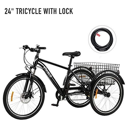 Z ZELUS 24 Zoll Dreirad für Erwachsene 7 Geschwindigkeit Zahnräder mit Warenkorb 3 Rad Fahrrad für Erwachsene Tricycle (Schwarz)