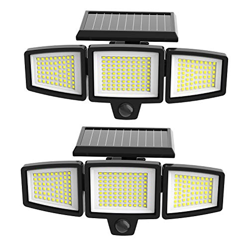Solar Motion Sensor Light Outdoor,Invariably,2500LM,210LED,Wireless IP65 Waterproof Solar Lights Outdoor,3 Head LED Flood Light for Porch Garage Yard Entryways Patio,2pcs