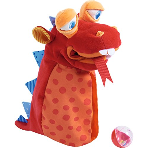 HABA Glove Puppet Eat it Up Dragon - Hand Puppet with Belly Bag to Eat Small Objects