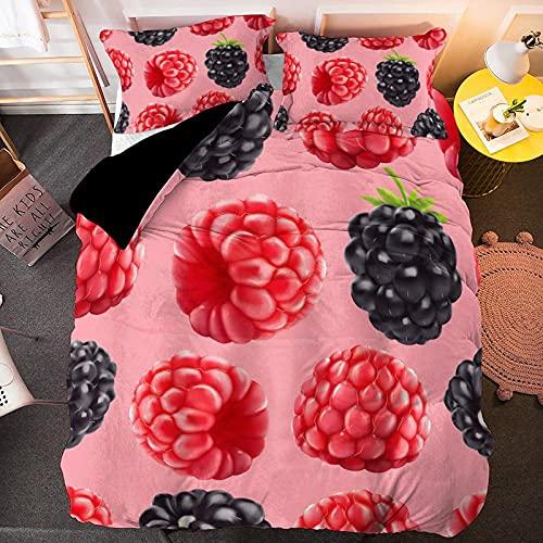 ZSDFPW Edredón Microfibra Funda Juego Patrón de UVA de Fruta Negra roja Rosa Juego de Cama con 2 Fundas De Almohada Cierre De Cremallera Suave Transpirable Anti alergico 260cmx220cm