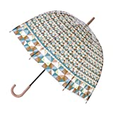 Time Concept Happy Clear Dome Umbrella - Block/Brown - Pop-Up Stick Canopy, Sun/Rain Travel Protection