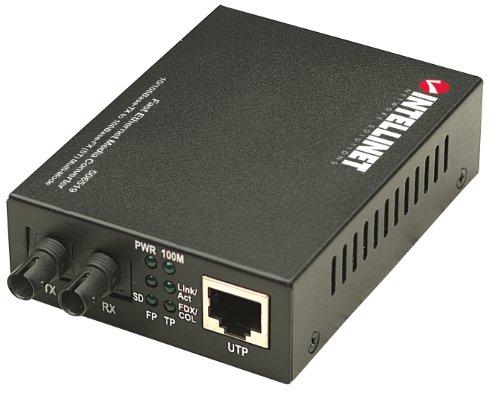 Intellinet 506519 Fast Ethernet Medienkonverter 10/100Base-TX auf 100Base-FX (ST) Multimode 2 km schwarz