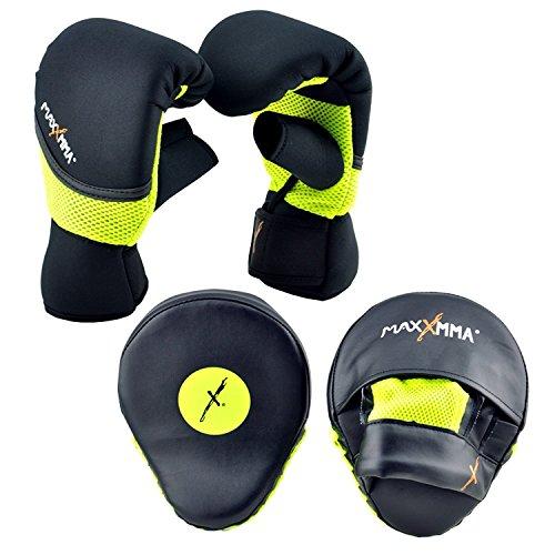 MaxxMMA Boxing MMA Training Kit - Pro Punch Mitts + Washable Neoprene Bag Gloves (Black/Neon, L/XL)