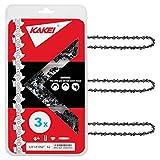 KAKEI Chainsaw Chain 18-Inch.050' Gauge, 3/8' LP Pitch, 62 Drive Links Fits Craftsman, Homelite, McCulloch, Poulan, Remington, Kobalt (3)