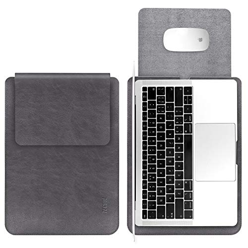 TECOOL Laptop Hülle 13,3 Zoll Tasche, Wasserdicht Kunstleder Schutzhülle Hülle für 2012-2020 MacBook Air/Pro 13,MacBook Air/Pro 13 M1 2020,Surface Laptop 3,LincPlusP1,Huawei Matebook, etc-Dunkle Grau