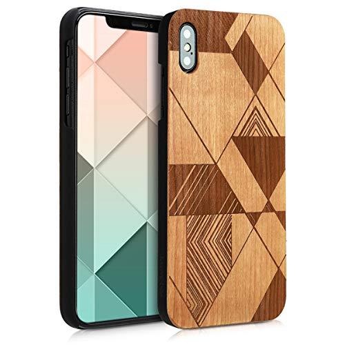 Preisvergleich Produktbild kwmobile Apple iPhone XS Max Hülle - Handy Schutzhülle aus Holz - Cover Case Handyhülle für Apple iPhone XS Max - Dreiecke Linien Design Braun Dunkelbraun