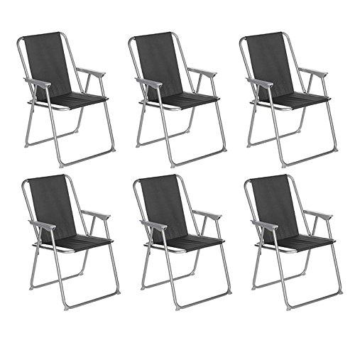 Paris Prix Côté Détente - Lot de 6 Chaises de Camping Pliantes Grecia 74cm Noir