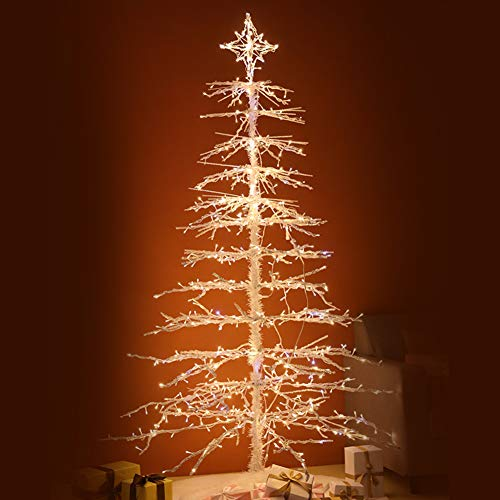 6ft Iron Christmas Tree,unique Xmas Tree With Foldable Metal Stand & LED,easy Assembly Indoor Outdoor-a 6ft