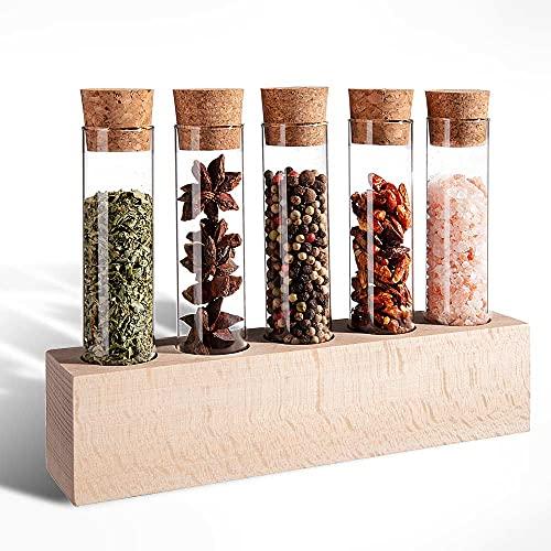Tuuters Gewürzboard aus Holz | Reagenzglashalter Vase mit Reagenzgläser ✿ Natürliches Gewürzregal ✿ (130x30mm - 65 ml Gläser)