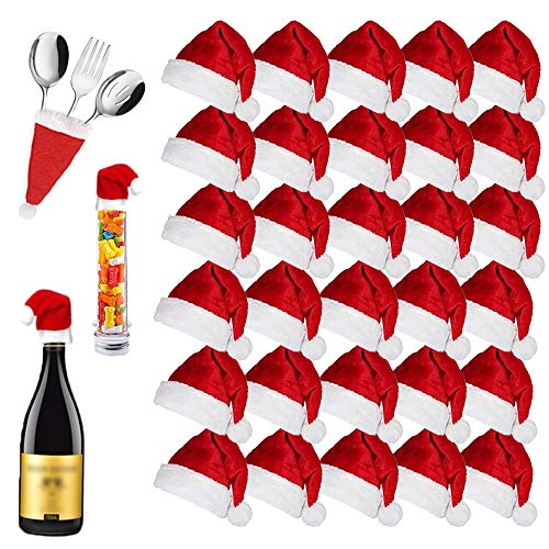 30PCS Mini Santa Hat,Small Christmas Hats,Santa Hats for Silverware Holders,Wine Bottles,Home Decor,Candy