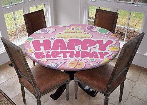 Ronde tafelkleed keuken decoratie, tafelblad met elastische randen, Boxer Dog Dier met Paarse Pruik met Kleurrijke Party Cone Grappige Photo Print Multi kleuren, Gedrukt tafelkleed