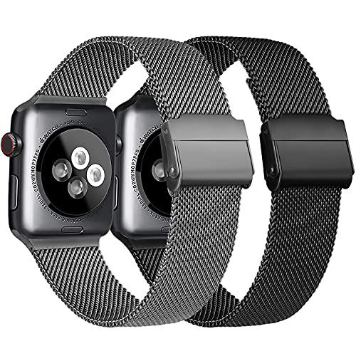 Meliya Cinturino Compatibile per Apple Watch Cinturino 44mm 42mm 40mm 38mm Series 6 5 4 3 2 1 SE, Cinturino in Metallo Maglia Milanese a Acciaio Inossidabile Cinturini (4Nero+Grigio, 42/44mm)