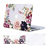MOSISO Compatible with MacBook Pro 13 inch Case with CD-ROM (Model: A1278, Old Version Release 2012-2008), Plastic Rose Leaves Hard Shell Case & Keyboard Cover Skin & Screen Protector, Transparent