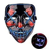 Himine Halloween Mask Cosplay LED Light up Purge Mask for Festival Party (Blue)
