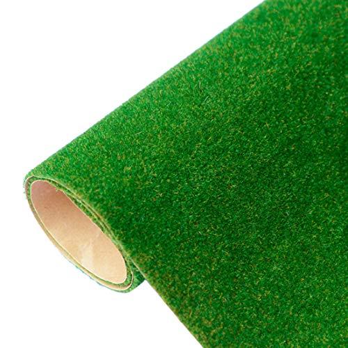 Yamix Model Grass Mat Artificial Train Grass Mat Fake Turf Lawn Paper for DIY Train Railroad Scenery Landscape Decoration, 41 x 100cm   16.1 x 39.4 inch (Dark Green)