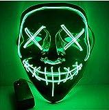 Kaliwa Maschera LED Halloween Maschera - Divertente Maschere con 3 modalità Flash Illuminano al Buio per...