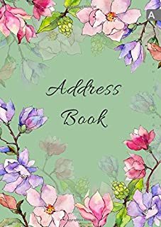 Address Book: A4 Big Contact Notebook Organizer | A-Z Alphabetical Sections | Large Print | Magnolia Wildflower Watercolor Design Green