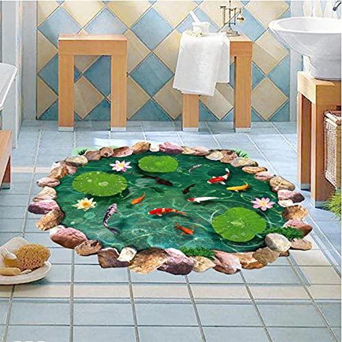 Wuixisajjh 3D Lotus Pond Fish Floor Sticker Baño Sala De Estar Decoración Del Suelo Mural Para La Decoración Del Hogar Tatuajes De Pared Pegatinas De Papel Tapiz