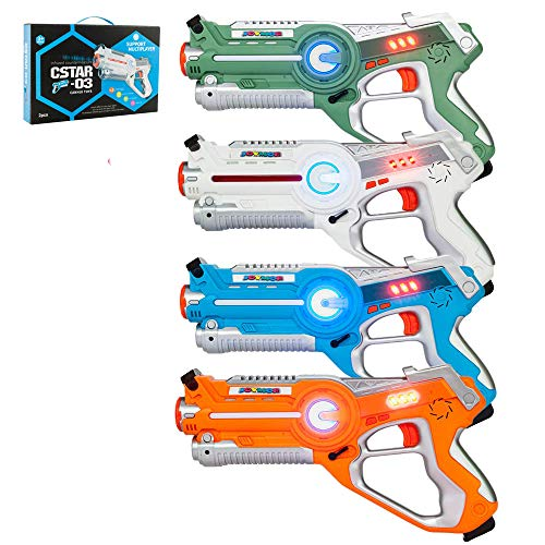 JOYMOR Laser Tag Guns Set of 4 Tag Blasters ,Multiplayer Mode,Best Toy for Boys Girls for Indoor and Outdoor Activity- Infrared 0.9mW