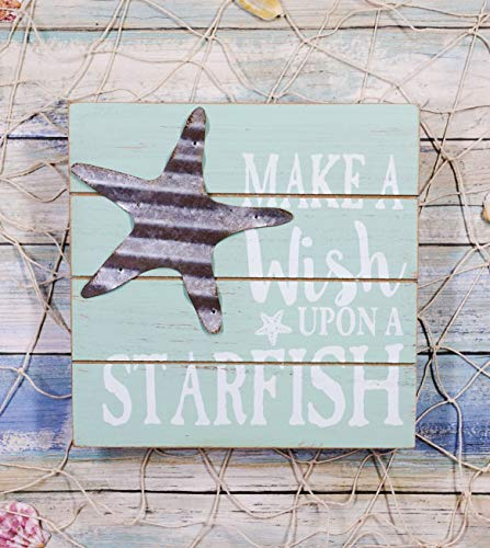 Ebros Nautical Teal Make A Wish Upon A Starfish Wall Decor Beach Sign Slatted Wooden Decorative Plaque With Galvanized Metal Sea Star 8'Wide Coastal Shore Marine Nursery Kids Bedroom Kitchen