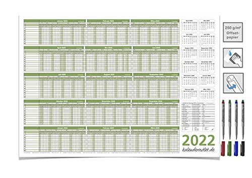 PERSONALPLANER URSPLANER 2022/23, kan torkas ren DIN A2 59,4 x 42,0 cm för 8 anställda grön med 4-delad icke-permanenta markör