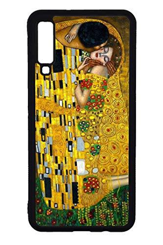 Case Schutz Hülle Kunstwerke berühmte Gemälde HD druck (Samsung Galaxy A7 2018, Der Kuss, Klimt)