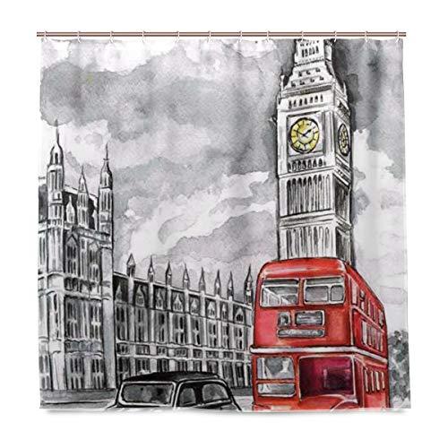 BIGJOKE Duschvorhang, London Big Ben Art, schimmelresistent, wasserdicht, Polyester, 12 Haken, 182,9 x 182,9 cm, Heimdekoration