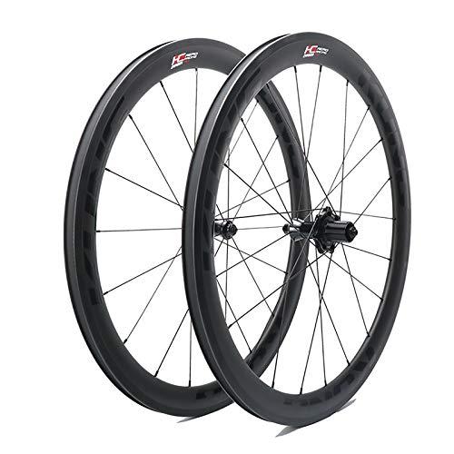 QDY-Juego de Ruedas de Bicicleta 700C Cuchillo de Carbono Abierto 50mm Freno de Llanta 11 Velocidades Ruedas Fibra de Carbono con 4 Rodamientos
