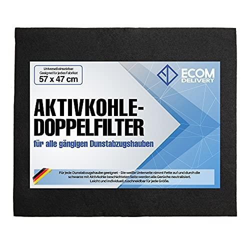 Ecom Delivery® Aktivkohlefilter für Dunstabzugshaube | Universal Filter Abzugshaube Küche | Zuschneidbare Filtermatte für Dunstabzug | Fettfilter Aktiv Kohle