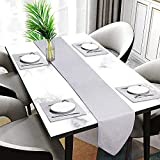 Hi-Life Grey Thickly Table Runner and Placemats Set Double Cotton Linen Fabric Materials Heat-resistand for Dinner Table Set of 4/5/6/7 (Grey, 1 Table Runner and 6 placemats)