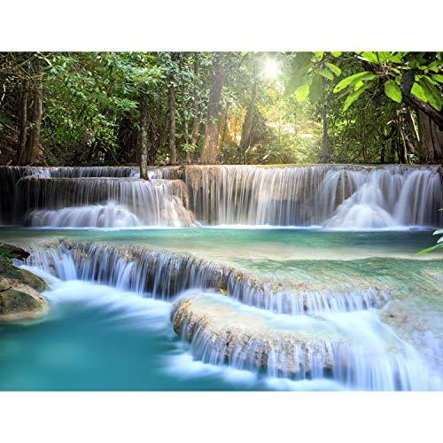 Fototapete Wasserfall Natur 352 x 250 cm Vlies Tapeten Wandtapete XXL Moderne Wanddeko Wohnzimmer Schlafzimmer Büro Flur Grün Blau Weiss 9161011a