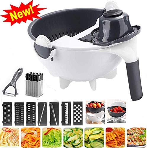 xingxinqi 9 in 1 Multifunktions-Gemüseschneider mit Abtropfkorb, magischer Rotation, Gemüseschneider, tragbarer Schneider, Reibe, Küchenwerkzeug