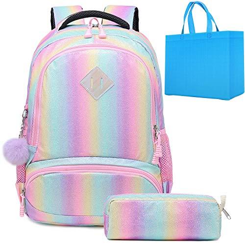 Mochila Escolar Niñas Mochila Arcoiris Chica Rainbow Backpack Mujeres Sets de Bolsa 2 en 1 con Estuche - Teenage Girls Daypack para Viajes