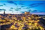N/W Puzzle Jigsaw Rompecabezas De 1000 Piezas - Vista General De Toledo En Horario Nocturno. España - Rompecabezas Intelectual Juego para Adultos Y Niños Puzzle Regalo
