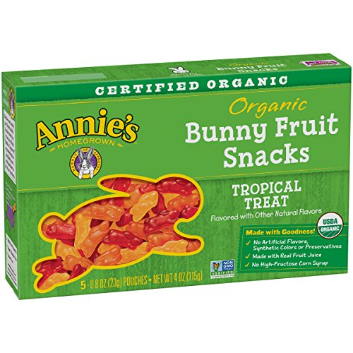 Annie's Organic Bunny Fruit Snacks, Tropical Treat, 20 Pouches, 0.8 oz (Pack of 4)