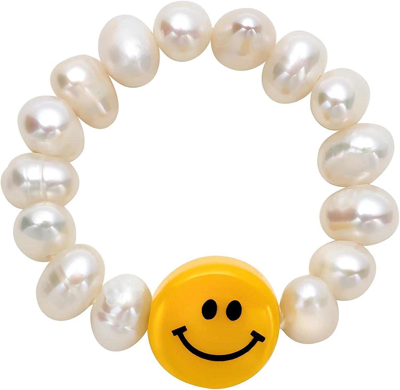 smiely face beaded pearl rings Irregular Pearl Cute Summer Y2K Handmade Stacked elastic ring for Teen Girls Women