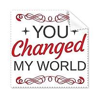 赤と黒 バレンタインデー You Changed My World イメージ 星とカーブ付き イラスト パターン メガネ クロス クリーニング 布製 電話画面クリーナー 5枚