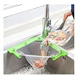 Kitchen sink strainer, Triangle Filter, Sink Strainer Bag sink net, Sink Fine Net Mesh Bag, Hanging Net Drain Basket Leftovers Soup Sink Garbage Storage Rack Holder(1 Holder + 100 PCS filters)