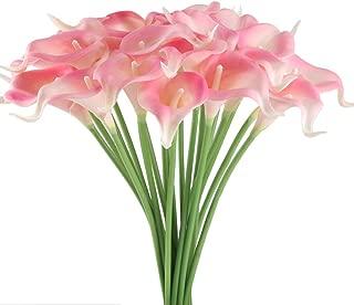 GTIDEA 20Pcs Fake PU Calla Lily Artificial Flowers Bride Wedding Bouquet for Table Centerpieces Arrangements Home DIY Garden Office Decor (Pink)