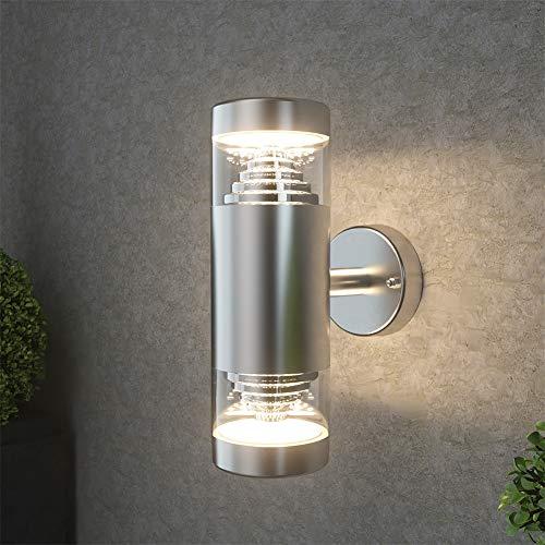 NBHANYUAN Lighting Outdoor LED Wandlamp Buiten RVS Wandkandelaar Buitenverlichting Weerbestendig 3000K Warm Wit Wandlamp 1000LM [Energieklasse A +]