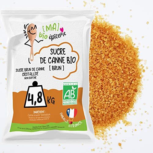 [Ma] bio-épicerie | Sucre brun canne BIO | 4,8 Kg | Sachet vrac | Certifié biologique |...