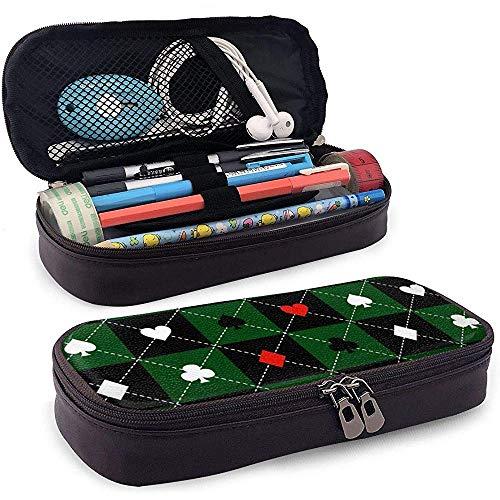 Trajes de tarjeta Verde Negro Tablero de ajedrez Diamante Pu Cuero Estuche para lápices Estuche Estuche para lápices Estuche para lápices Estuche para lápices Estuche