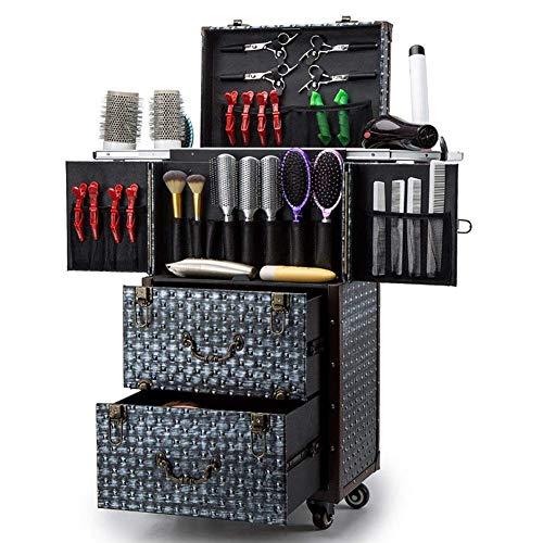 FMEZY Aluminium Rolling MakeupTrain Case Kappers Trolley Salonbarber Cosmetische Bagagebox met Schuifladen, Borstel Haardroger Houder(14.74×11.03×29.92 In)