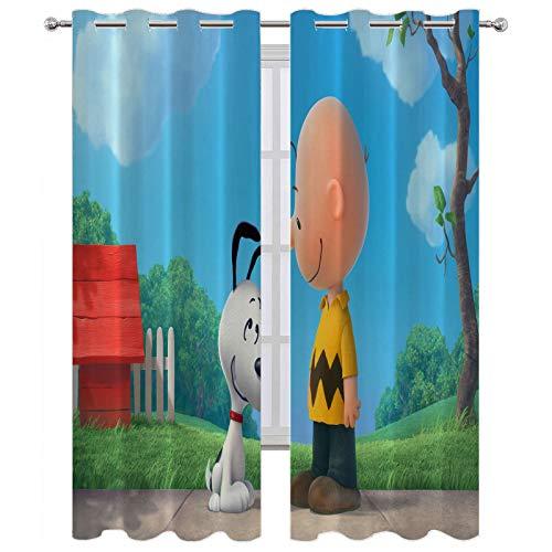Cortinas extra largas Snoopy y Charlie Brown cortina de ventana interior W55 x L72 pulgadas