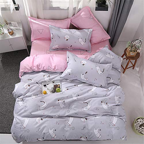 Kids Girls Cats King Size Duvet Cover Grey Bedding Set Double Bed Reversible Microfiber Quilt Cover with Zip and 2 Pillow Cases