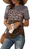 Necooer Women's Striped Blouses Short Sleeve Color Block Tunic Tops Leopard Print Shirt Blouse (Large,Brown)